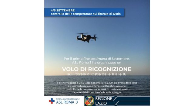 ASL Roma 3 annuncio Facebook drone per misurare febbre bagnanti